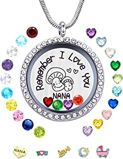 Floating Birthstone Charm Necklace for Nana