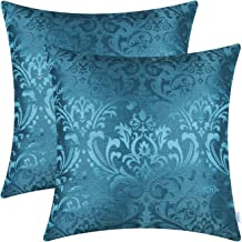 CaliTime Pack of 2 Throw Pillow Covers Cases for Couch Sofa Home Decoration Vintage Damask Floral Shining & Dull Contrast 18 X 18 Inches Ocean Blue