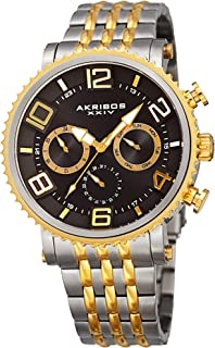 Akribos XXIV Men's Multifunction Watch - 3 Subdials Include Day, Date and GMT on Large Easy-to-Read Hands and Hour Markers on Stainless Steel Bracelet - AK917
