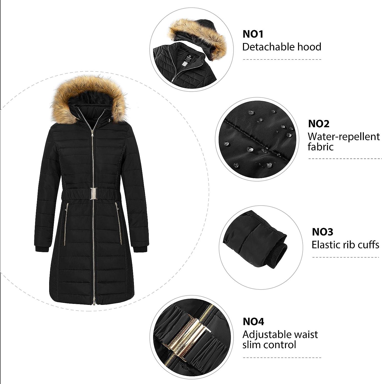 Wantdo Women's Quilted Winter Coat Water-Resistant Puffer Jacket Long Warm Parka