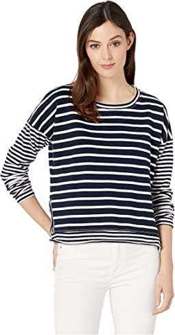 Stripe Sweater Mix Drop Shoulder Step Hem Long Sleeve Pullover