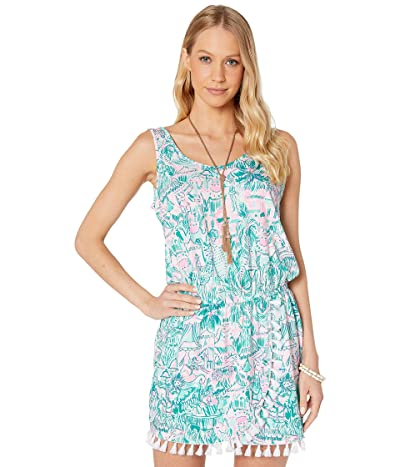 Lilly Pulitzer Jarrett Romper (Bright Agate Green Colorful Camelflage) Women