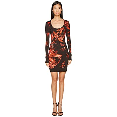 Just Cavalli Long Sleeve Tulip Heaven Print Jersey Dress (Red) Women