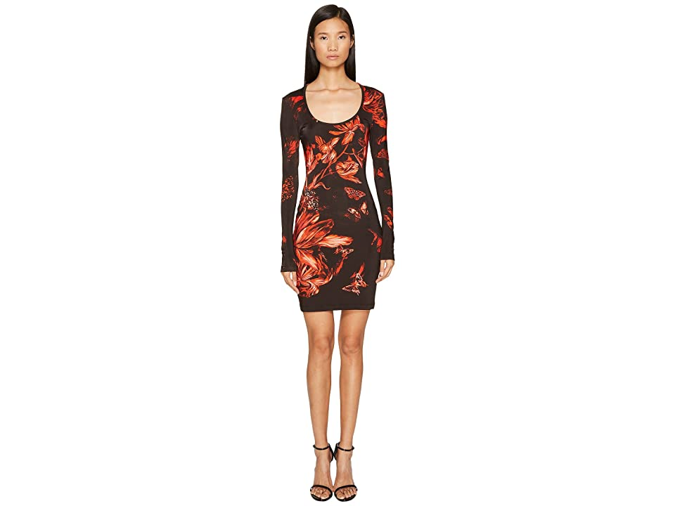 Just Cavalli Long Sleeve Tulip Heaven Print Jersey Dress (Red) Women
