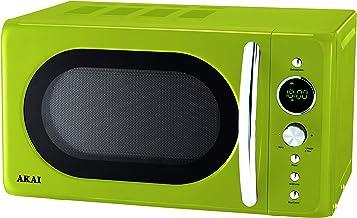 Akai AKMW203VE - Microondas (Encimera, Microondas con grill, 20 L, 1200 W, Botones, Giratorio, Verde)