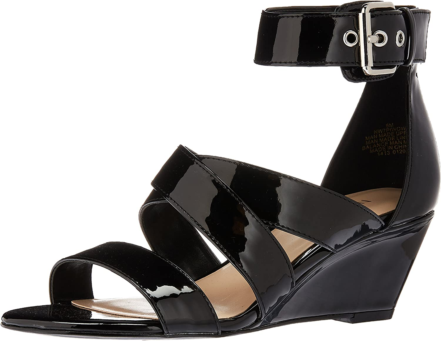 Nine West Womens Piwow Patent Wedge Sandal