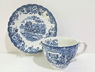 Johnson Brothers Blue Coaching Scenes Cup & Saucer Set