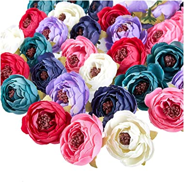 Juvale Peony Flower Heads - 60-Pack Artificial Flowers Wedding Decorations, Baby Showers, DIY Crafts, Mixed Colors, 1.6 x 1.6