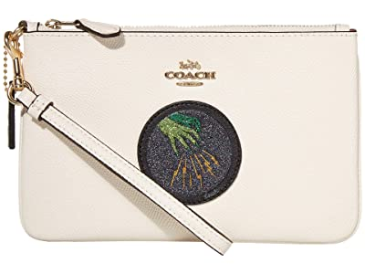 COACH Small Wristlet (Chalk/Gold) Clutch Handbags