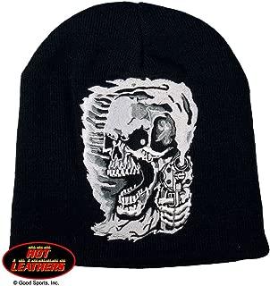 Hot Leathers Assassin Killer Skull and Gun Beanie Knit Cap (Black)