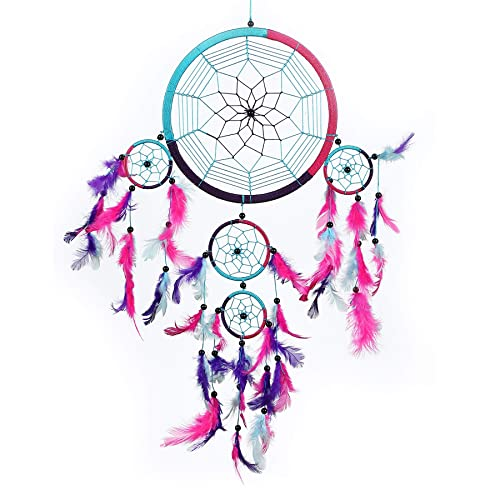 Pink Pineapple Large Handmade Bohemian Dream Catcher Ethical Hanging Dreamcatcher Wall Art With Aqua Blue