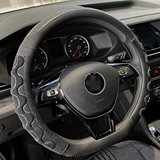PINCTROT D Shaped 14 Inch Small Sized Steering Wheel Cover Great Grip with 3D Honeycomb Anti-Slip Design, Flat Bottom 14 I...