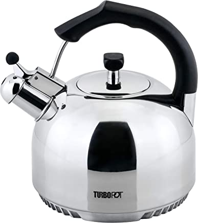 FreshAir Stainless Steel 2.5 Qt. Tea Kettle by Turbo Pot—energy-efficient cookware for gas stove