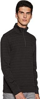 Men's 1/4 Zip Sweater Seasonal Key Sweatshirt 100% Cotton Gunmetal (Large)
