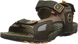 Sparx Men's Olive and Yellow Athletic and Outdoor Sandals - 9 UK (SS-604)