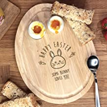 eBuyGB Happy Easter Breakfast Board, Some Bunny Loves You, Egg Shaped Egg & Soldiers Serving Board, Dippy Eggs and Toast, ...