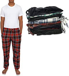 Men's 4 Pack 100% Cotton Flannel Pajama Sleep Pant -...