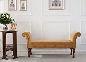 Jennifer Taylor Home, Roll Arm Entryway Bench, Gold, Hand-Applied Nailheads, Wooden Legs