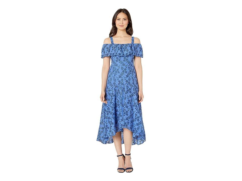 Taylor Cold Shoulder Embroidered High-Low Dress (Blue/Navy) Women