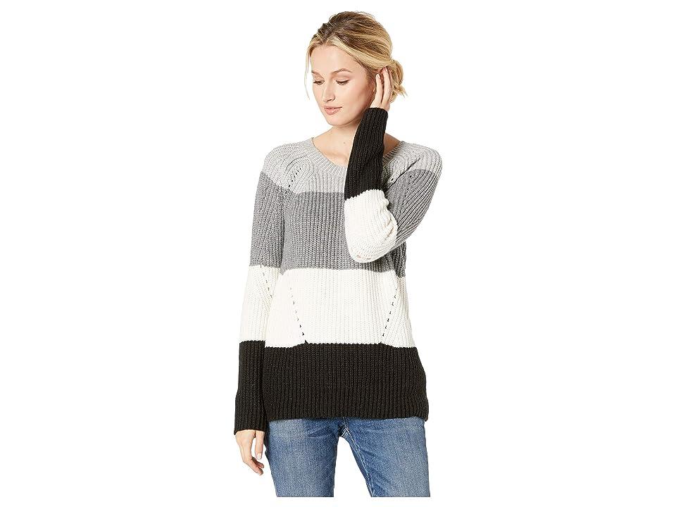 Lucky Brand Crew Neck Pointelle Sweater (Natural Multi) Women