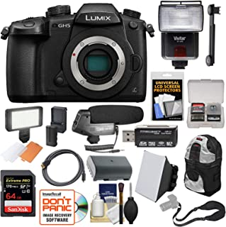 Panasonic Lumix DC-GH5 Wi-Fi 4K Digital Camera Body with 64GB Card + Battery + Case + Flash + Video Light + Microphone + Strap + Kit