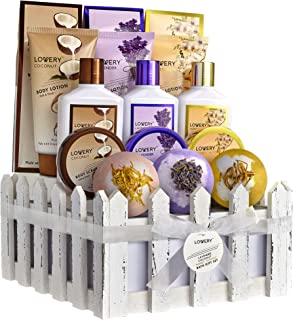 Home Spa Gift Baskets For Women & Men, 16 Piece Set of Coconut, Lavender Jasmine & Honey Almond Scent, Includes Lotions, S...
