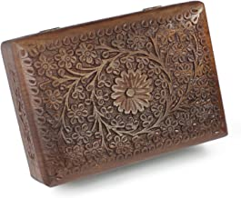 Beautiful Christmas Holiday Gift Ideas For Women Decorative Jewelry Box Wooden Storage Keepsake Watch Box Floral Brass Inlay 7 5 Inches Unique Birthday Gift Ideas For Her Girls