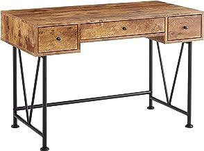 Glavan 3-Drawer Writing Desk with Antique Nutmeg and Black