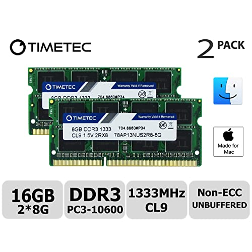 Timetec Hynix IC Apple 16GB Kit (2x8GB) DDR3 1333MHz PC3-10600 SODIMM Memory