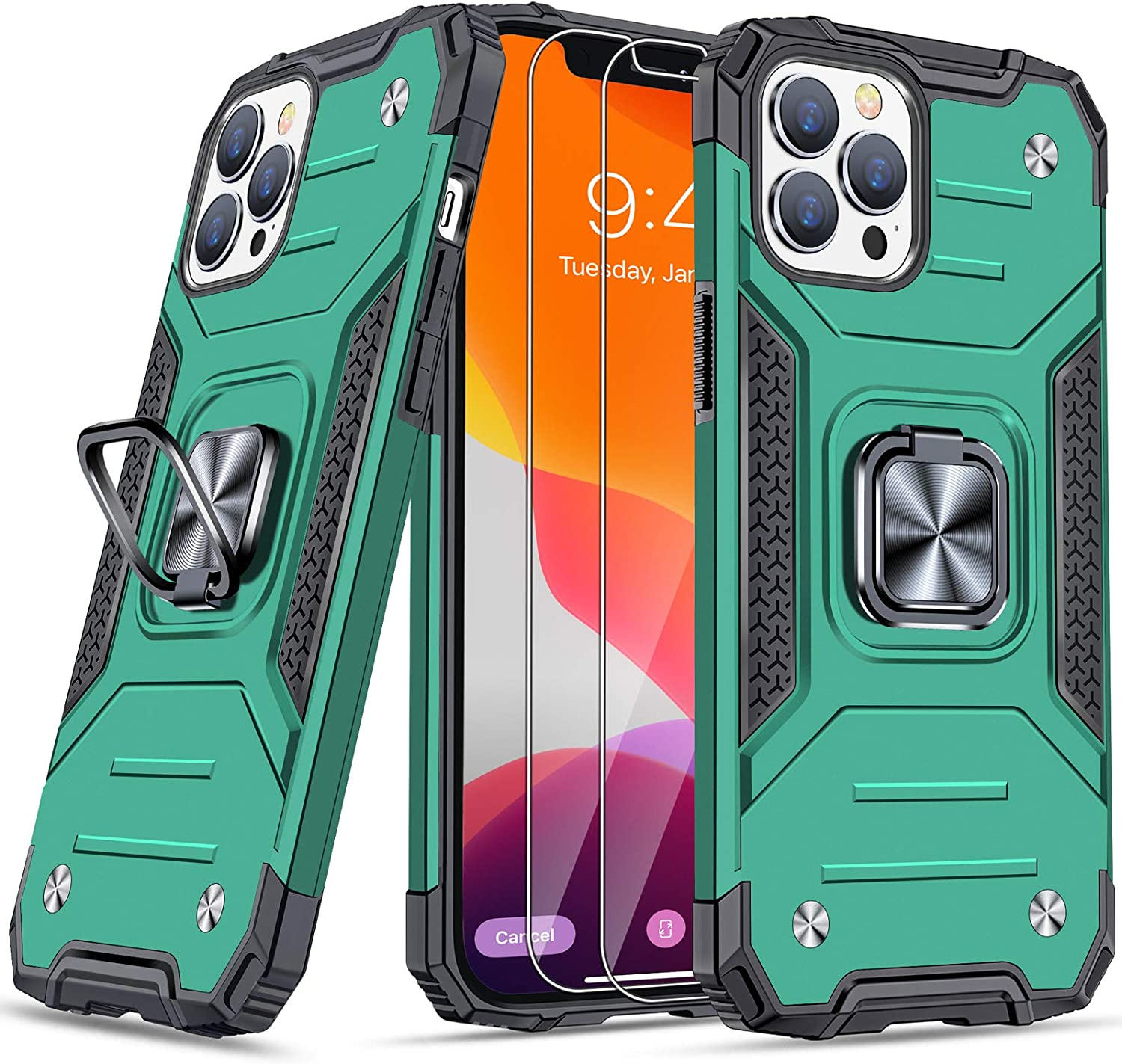 """JAME for iPhone 12 Pro Max Phone Case with [Tempered-Glass Screen Protector 2Pcs], Military-Grade Drop Protection, with Ring Kickstand, Shockproof Bumper Case for iPhone 12 Pro Max 6.7"""" Green"""