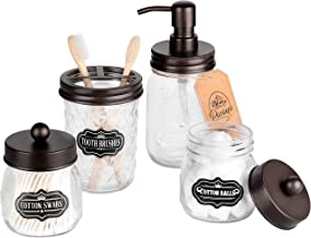 Premium Mason Jar Bathroom Accessories Set, Mason Jar Soap Dispenser, 2 Apothecary Jars (Qtip Holder), Toothbrush Holder, ...