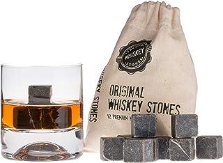 Whisky-Steine in Premiumqualität, Würfel für Whiskey-Getränke, 100 % natürlicher Marmor, Geschenkset, in Samtbeutel, 12 Stück Black Gift Box