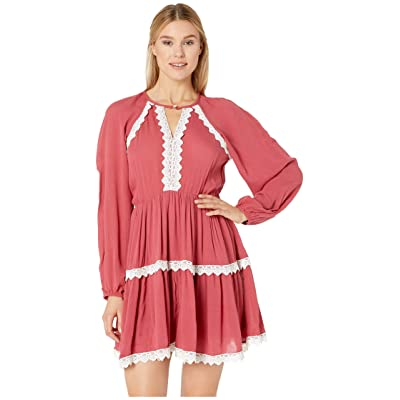 Rock and Roll Cowgirl Long Sleeve Dress D4-9632 (Rose) Women