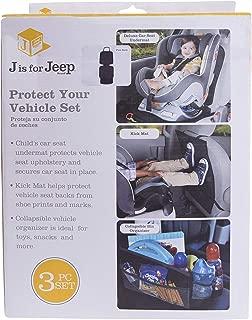 JEEP Vehicle Protection Accessory Set: Deluxe Car Seat Undermat,Kick Mat, Bin Organizer