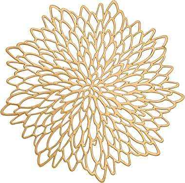 WingsShop Gold Placemats Set of 6 Metallic Pressed Vinyl Round Floral Leaf Dining Table Mats Washable and Wipeable for Party