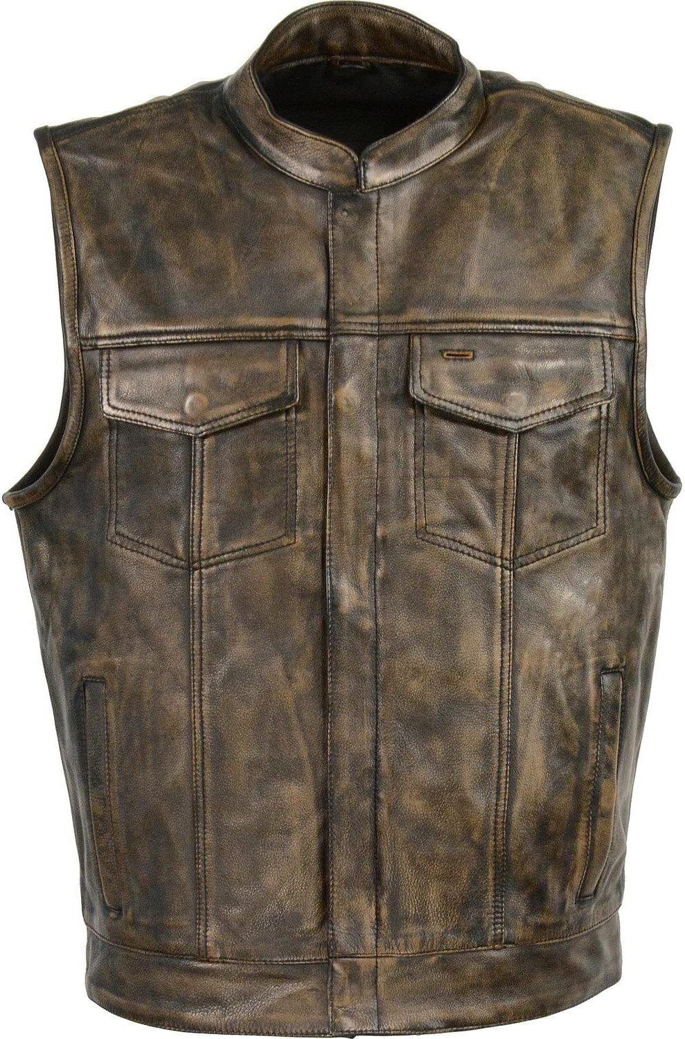 Milwaukee Leather Men's Open Neck Snap/Zip Front Club Style Vest Black or Brown (Small, Brown)