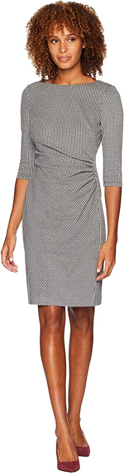 Houndstooth Knit Cierra 3/4 Sleeve Day Dress