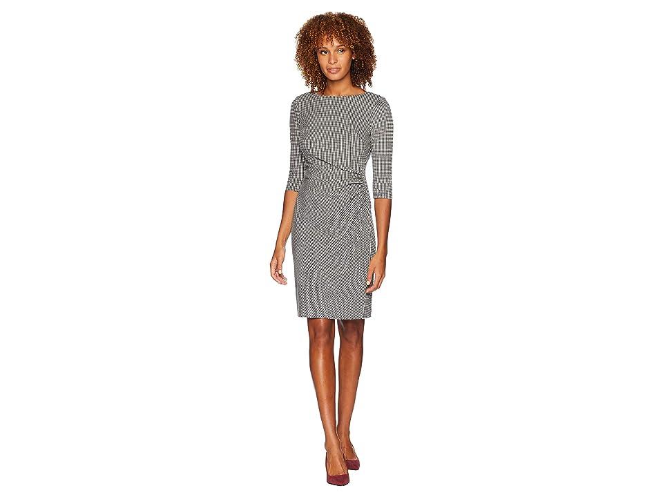 LAUREN Ralph Lauren Houndstooth Knit Cierra 3/4 Sleeve Day Dress (Black/White) Women