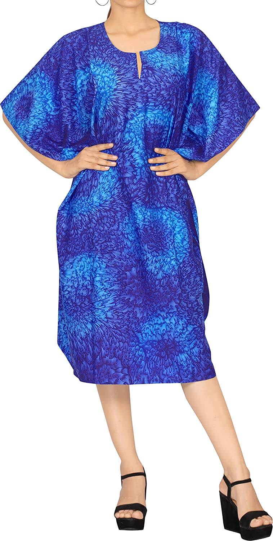 LA LEELA Women's Plus Size Kaftan Cover Ups Beach Evening Party Dress Short Midi