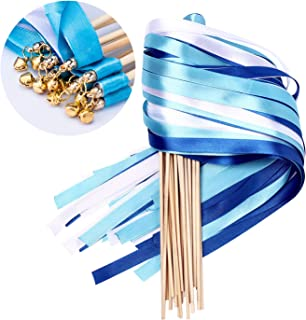 Whaline 30 Pack Ribbon Wands Chromatic Silk Ribbon with Bells Fairy Stick Wish Wands for Wedding and Valentines Party (Blue)