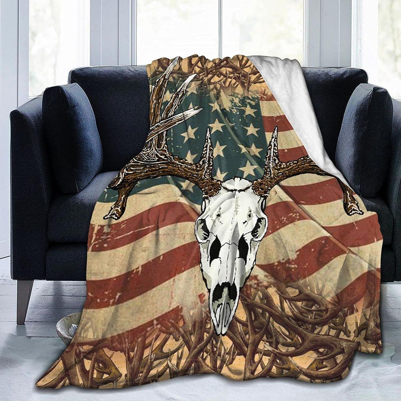 MSACRH Throw Blankets Deer Us Flag Max 82% OFF Blanket Fluffy Cozy Plush fo Max 43% OFF
