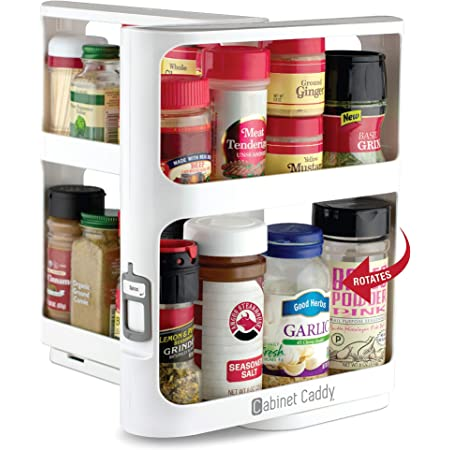 """Cabinet Caddy (White)   Pull-and-Rotate Spice Rack Organizer   2 Double-Decker Shelves   Modular Design   Non-Skid Base   Stores Prescriptions, Essential Oils   10.8""""H x 5.25""""W x 10.8""""D"""
