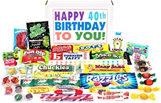 Woodstock Candy Happy 40th Birthday to You for 40 Year Old Man or Woman - Classic Retro Candy Assortment Gift Box Jr