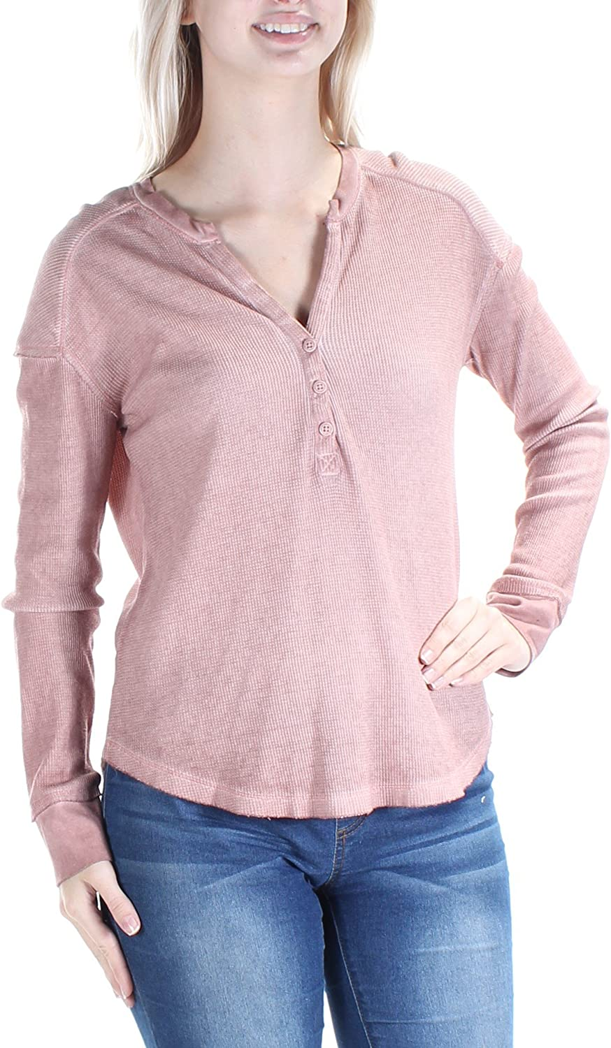 98c053086f9 Sanctuary Womens Waffle Knit Sleeve Henley Top S Long Taupe ...