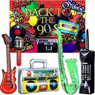 80s 90s Party Decorations Rock Star Toy Party Decorations Includes 80s 90s themed Party Backdrop Banner, Inflatable Microp...