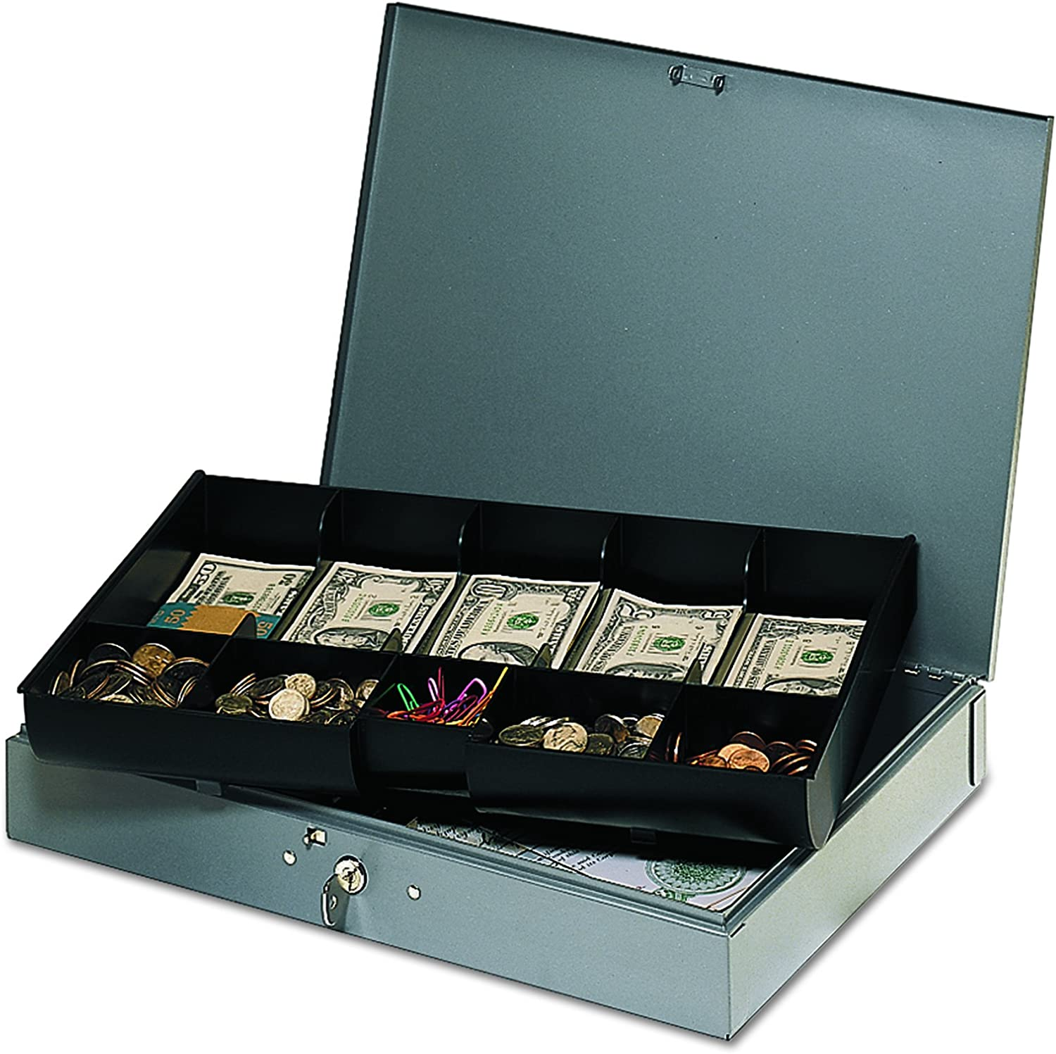 STEELMASTER Low Profile Super Omaha Mall beauty product restock quality top Steel Cash Box with Gra 10 Compartments