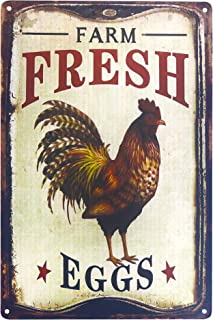 UNIQUELOVER Chicken Signs for Coop Funny, Farm Fresh Eggs Metal Decor Art Chicken Coop Kitchen Cottage Farm Country Home Decor 12 x 8 Inches (30 x 20cm)