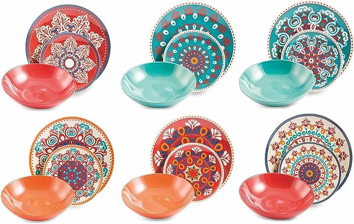 Servizio tavola 18 pezzi, porcellana/gres, multicolore, unità villa d'este home tivoli shiraz 2413685