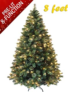 AMERIQUE T 8 FEET Eight-Function Premium Magnificent Artificial Full Body Shape Christmas Tree with Metal Stand, Hinged Construction, Advanced Realistic Technology, Pre-lit Green