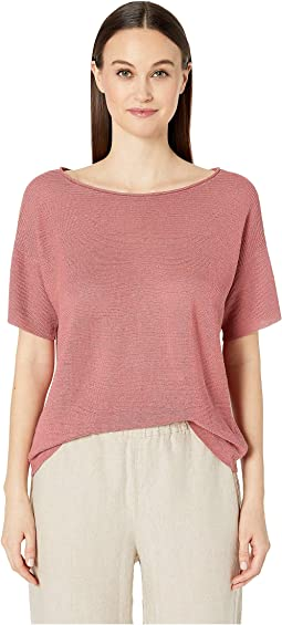 Organic Linen Knit Bateau Neck Short Sleeve Box-Top
